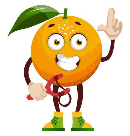 Orange with sling shot, illustration, vector on white background.