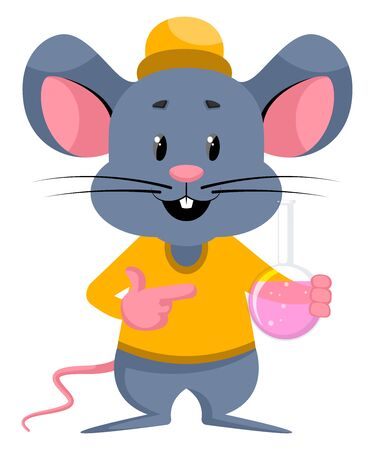 Mouse with tube, illustration, vector on white background.
