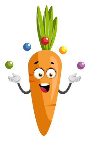 Carrot juggling, illustration, vector on white background.