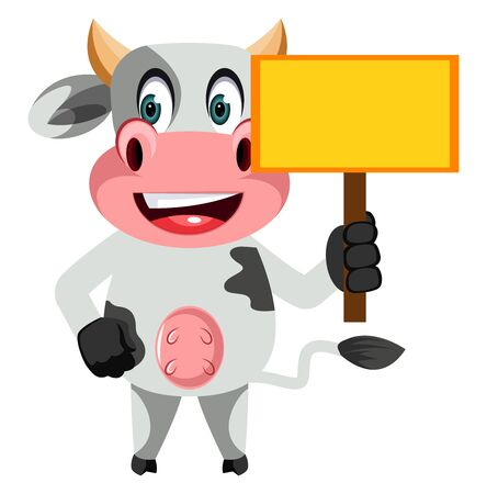 Cow with blank panel, illustration, vector on white background. Ilustração