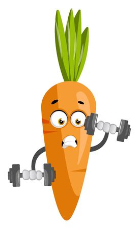 Carrot with weights, illustration, vector on white background. Иллюстрация