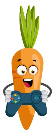 Carrot with gamepad, illustration, vector on white background. 일러스트