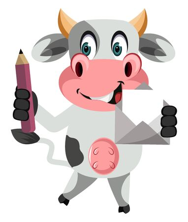 Cow with pen, illustration, vector on white background. Stock Illustratie