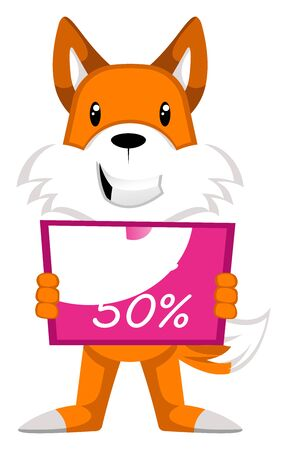 Fox with sale board, illustration, vector on white background. Banque d'images - 132758562