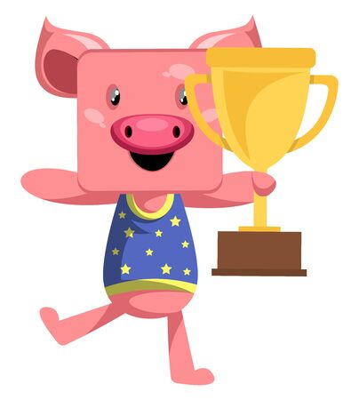 Pig with trophy, illustration, vector on white background.