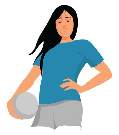 Woman with ball, illustration, vector on white background. 일러스트