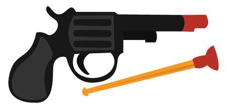 Toy pistol, illustration, vector on white background.