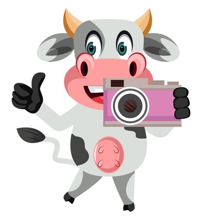 Cow with camera, illustration, vector on white background. Stock Illustratie