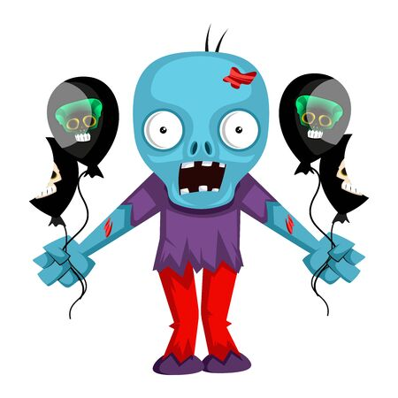 Zombie with balloons, illustration, vector on white background.