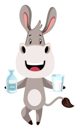 Donkey with milk, illustration, vector on white background.