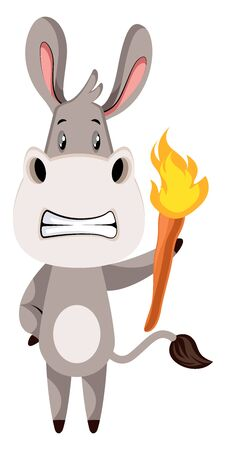 Donkey with torch, illustration, vector on white background.