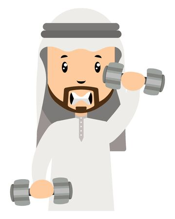Arab men with weights, illustration, vector on white background.