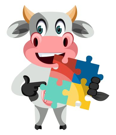 Cow with puzzle, illustration, vector on white background.