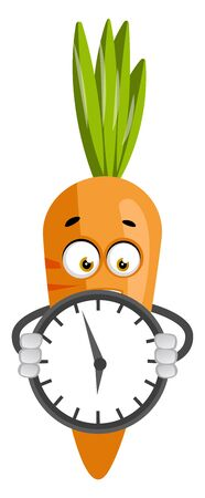 Carrot with clock, illustration, vector on white background.
