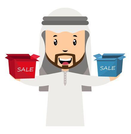 Arab men with sale box, illustration, vector on white background. Illustration