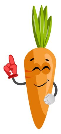 Carrot with red glove, illustration, vector on white background.