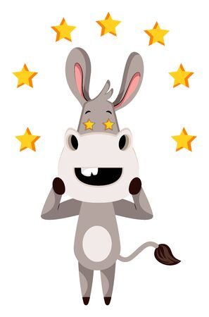 Donkey with stars, illustration, vector on white background.