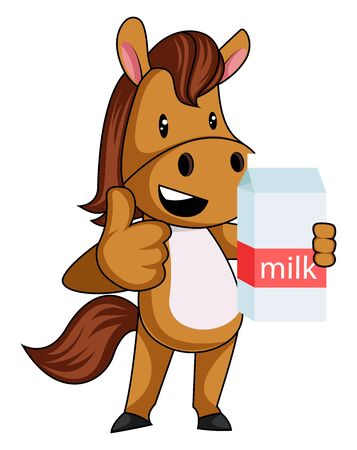Horse with milk, illustration, vector on white background.