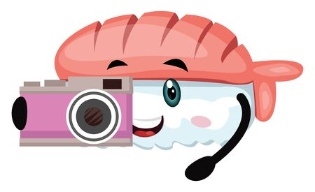 Sushi with camera, illustration, vector on white background. Ilustracja