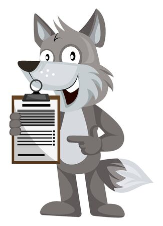 Wolf with schedule, illustration, vector on white background.