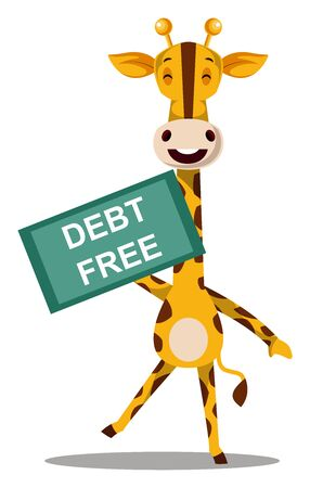 Giraffe with debt free, illustration, vector on white background.