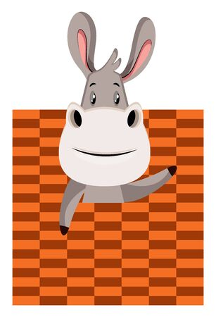 Donkey with bad texture, illustration, vector on white background. Ilustração