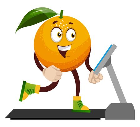 Orange on running machine, illustration, vector on white background.