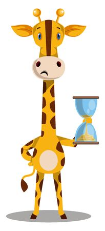 Giraffe with sand watch, illustration, vector on white background. Illustration