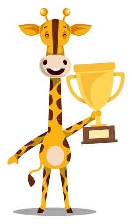 Giraffe with trophy, illustration, vector on white background.
