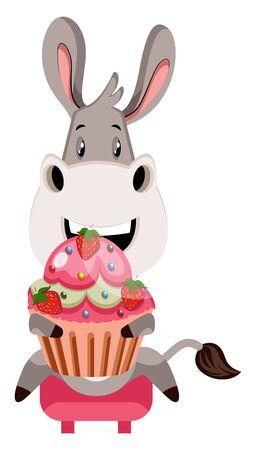 Donkey with cake, illustration, vector on white background. Standard-Bild - 132735438