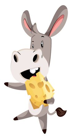 Donkey with cheese, illustration, vector on white background.