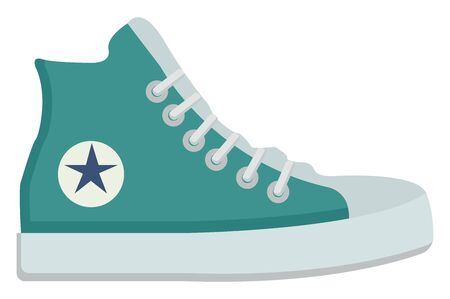 Blue sneakers, illustration, vector on white background.