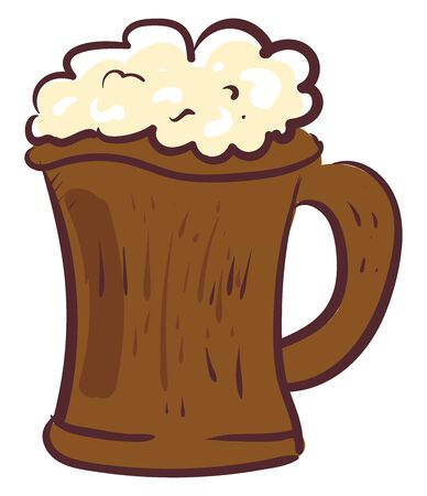Wooden beer, illustration, vector on white background.
