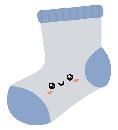 Cute sock, illustration, vector on white background. Çizim