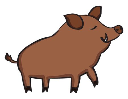 Wild pig, illustration, vector on white background. Stock Vector - 132728169