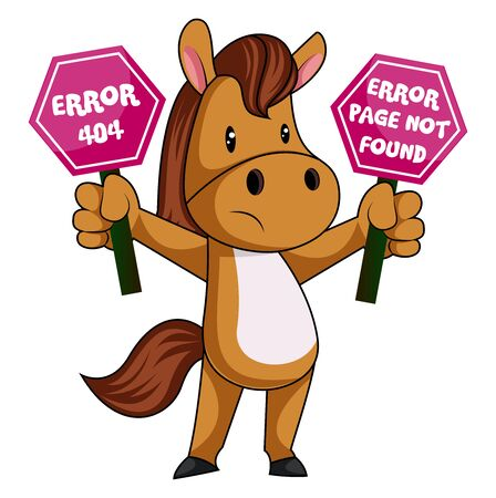 Horse with 404 error, illustration, vector on white background.