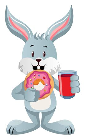 Bunny with soda and donut, illustration, vector on white background. Stock Illustratie