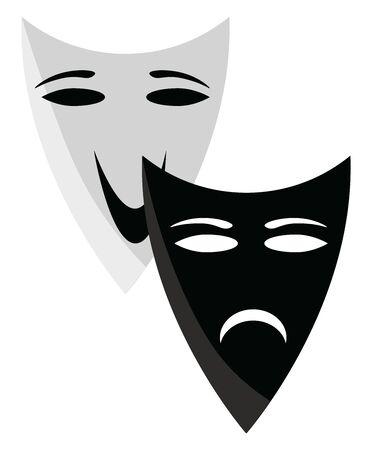 Theater masks, illustration, vector on white background. 写真素材 - 132757061