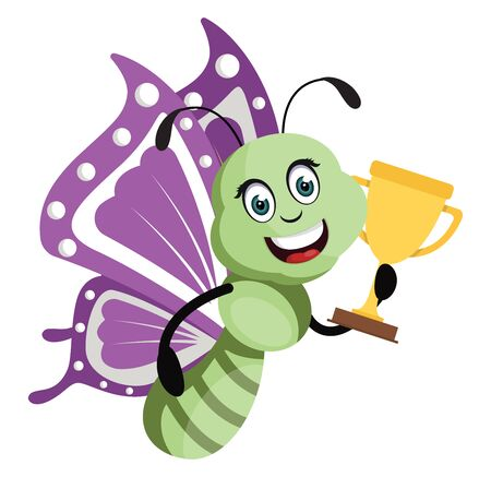 Butterfly with trophy, illustration, vector on white background.