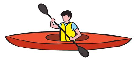Red boat, illustration, vector on white background. 向量圖像