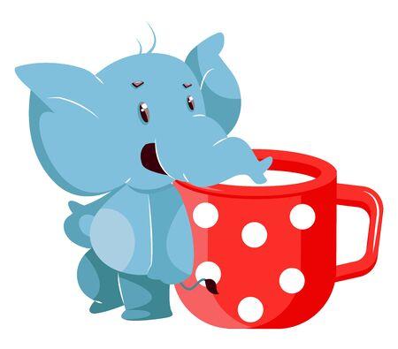 Elephant with milk, illustration, vector on white background.