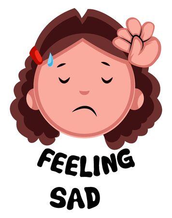 Girl feeling sad, illustration, vector on white background.