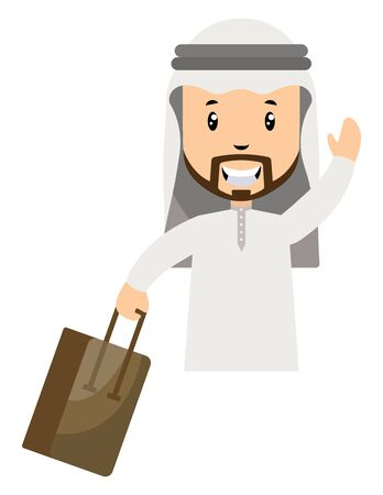 Arab men with suitcase, illustration, vector on white background.