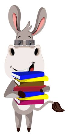 Donkey with books, illustration, vector on white background.