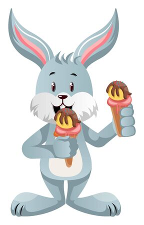 Bunny with ice cream, illustration, vector on white background.
