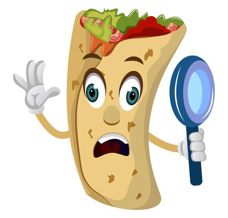 Burrito with magnifying glass, illustration, vector on white background.