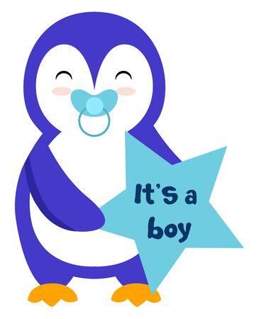 Penguin boy, illustration, vector on white background. Ilustração