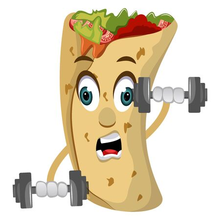 Burrito with weights, illustration, vector on white background.