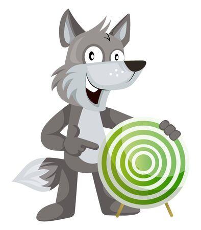 Wolf with target, illustration, vector on white background. Ilustração