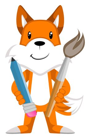 Fox with paint brush, illustration, vector on white background.